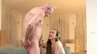 Old german dude and woman getting..