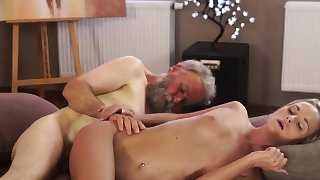 Vintage old man and young girl Sexual..